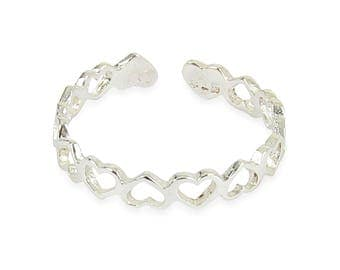 925 solid Sterling Silver Heart Band Toe Ring