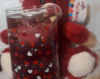 Glittered Pink Rose Candle and Teddy Bear