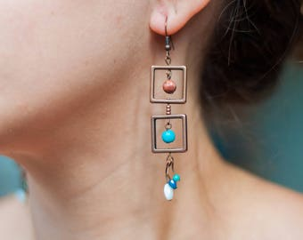 Square Boho Earrings. Hippy Earrings. Turquoise Earrings. Antiqued Copper Earrings. Gemstone Earrings. Tribal Earrings. Natural Earrings