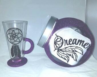Dream catcher glitter glass, cookie jar, dream jar, sweet jar, latte glass, wine glasses
