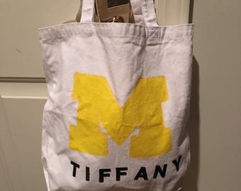 Personalized University of Mi Canvas Tote