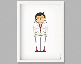 Illustration, Print, Elvis Presley, Cabuts, Cartoons, Hugo Giner, Wall art, Art decor, Hanging wall, Printed art, Decor home, Gift idea