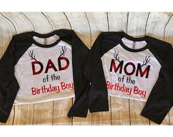 Mom and Dad Matching Raglan Shirts Plaid Lumberjack Birthday shirts