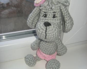 Crochet dog Handbag keychain Amigurumi   Pocket toy for children  Toy for travel Gift to dog lovers Gift for her.