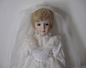 Vintage Heritage Bridal Doll Porcelain Blonde - Collector's Bridal Dolls - Vintage Heritage Porcelain Dolls