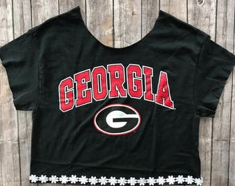 Georgia Bulldogs Off The Shoulder Daisy Top