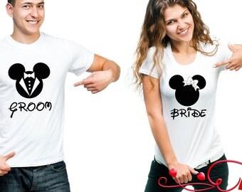 Disney Couple T-Shirts Groom Bride Mickey Mouse Minnie Mouse Shirt Men's Women's T-Shirt