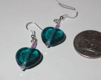 Glass Bead Heart Earrings