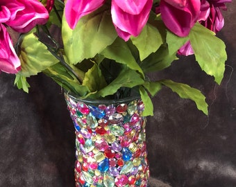 Multicolored Bright Jeweled Vase