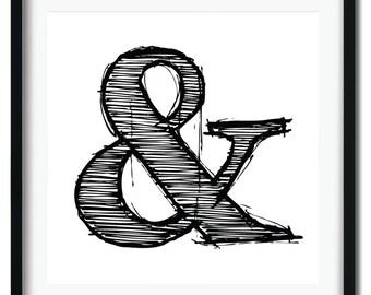 Ampersands - 5 print typography set