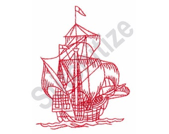 Galleon - Machine Embroidery Design, Ship