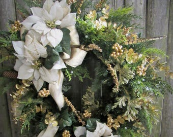 Ready to Ship Holiday Wreath wtih Cream and Gold Pointsettia, Golden berrries a touch of Cedar and Eucalyptus