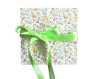 "Mini Leporello, 12 x 12 cm Accordion folder with motif ""Flower meadow"" and ribbon"
