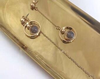 asymmetry Moonstone Chandelier Earrings