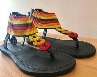 ON SALE MASAI Sandals, Masai Leather Sandals, Cute Masai Sandals, Colorful Sandals, Leather Sandals, Summer Sandals, Bohemian Sandals, Women