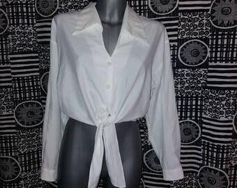 Vintage 90's White Tie Front Crop Top Blouse