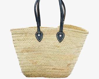 French Market Basket, Long Leather Handle, Dark Blue