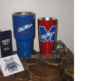 Mississippi 30oz Yeti Rambler Choose size and color,Personalized Yeti tumbler cup Ole Miss Red Blue