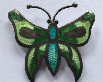 OBO - Vintage Jeronimo Fuentes Mexico Sterling Silver Guilloche Enamel Butterfly Pin Brooch