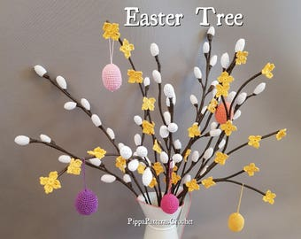 Easter Tree Crochet Pattern Pussy Willow Forsythia Easter Spring Egg  Home Decoration Plant Garden and Floral Arrangements.