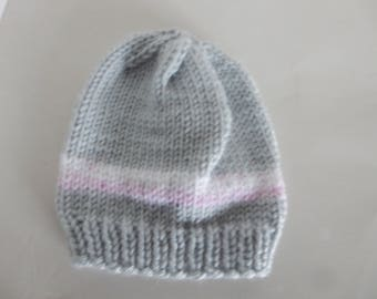 Knitted grey baby hat