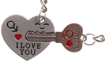 VALENTINES DAY KEYCHAINS!!!  Heart and Key Keychains. Keys to My Heart. His and Hers Keychains. Anniversary Gift. Free Shipping in the U.S.