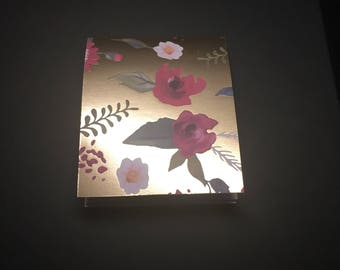 Gold Flower Mini Notebook - Gold Notebook - Red Flower Notebook - Gold Garden Notebook - Small Notebook - Small Notepad