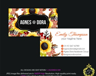 Agnes And Dora Business Card, Personalized Agnes Dora Business Card, Sun Flower Business Card, Agnes And Dora Marketing, Digital file AG01
