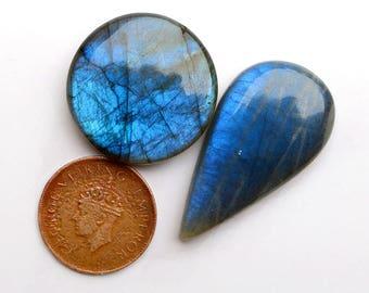 2pcs 126cts. 44x24mm 100% natural A+ quality beautiful blue flash labradorite Cabochon smooth hand polish jewelry making gemstone  SKU00125