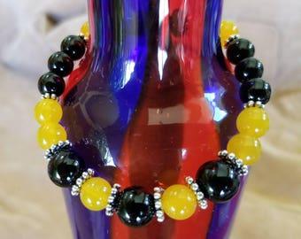Yellow Agate and Black Onyx Gemstones