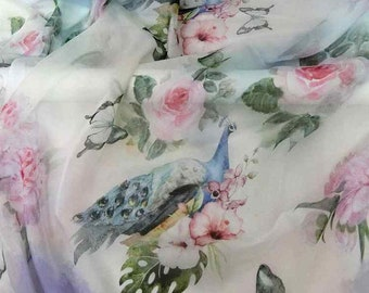 Pure Mulberry Silk dpc-33060 Peacock Butterfly Digital Print Printed 6mm Pure Silk Chiffon Fabric material sheer Yard or Meters
