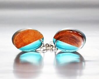 Wood Earrings Resin Jewelry, Bohemian Earrings Nature Inspired Jewelry, Blue Resin Earrings Art Gift Jewelry, Nature Earrings Forest Jewelry