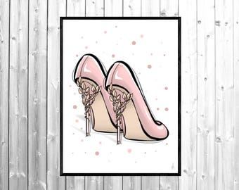 Shoe illustration, shoe art, shoe art print, fashion illustration, fashion wall art, fashion sketch, fashion print, fashion poster