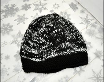 Black and White Hand Knit Hat, Wooly Hat, Hat for Him, Hat for Her, Beanie Hat, Stocking Filler, Secret Santa Gift, Knitted Hat, Black Hat