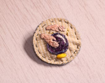 Fortune-teller hand-embroidered brooch