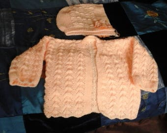 Hand knit sweater and hat set