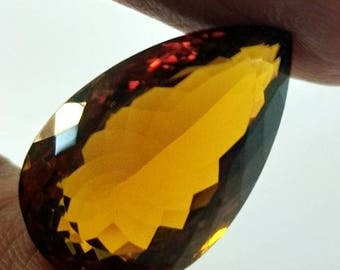 Top Quality of Brazilian Natural Brandy Citrine Quartz  Pear Shape 21 .20  Carat 24 x 14 x 10 mm