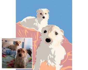 Custom Pet Illustration   Custom Portrait   FINE ART PRINTS   Wall Art   Custom Gift Idea   Family Gift Idea   Personalised Gift