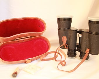 Vintage binoculars, old stile, mint condition, collectible item, very good condition, like new, black binoculars