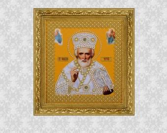 Icon St Nicholas the Wonderworker, Saint Nicholas, Icons of Saints, Christian & Catholic Icons, Religious Wall Art, Religious icons