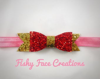Red gold glitter Valentine's Day bow headband