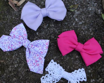 Headband pack - baby shower gift - floral bow - spring bows - spring hair bow - nylon headbands - bow set - baby headbands