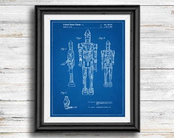 Star Wars IG-88 Full Image Patent Poster, IG-88 Print, Starwars Art, Star Wars Characters, Vintage, Bounty Hunter, Wall Art Decor, IG88