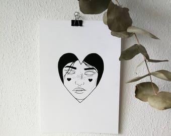 V I O L A - originial illustration/ wallart/ tattoo template