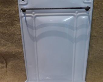 French vintage white enamel utensil rack