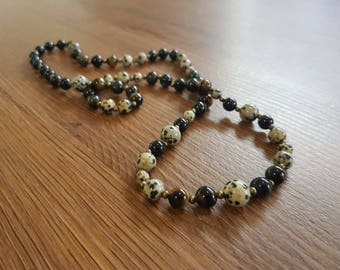 Crystal gemstone mala necklace with Dalmatian jasper, tigers eye and obsidian beads