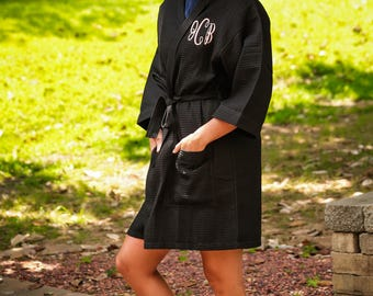 Monogrammed robe, waffle weave robe, bridal party robes, wedding robe, bridesmaid gift
