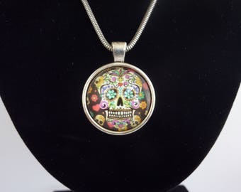 Skull cabochon necklace, silver back and chain, handmade