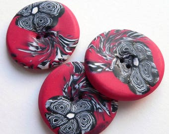 Large Red White Black Flower Buttons - handmade in polymer clay