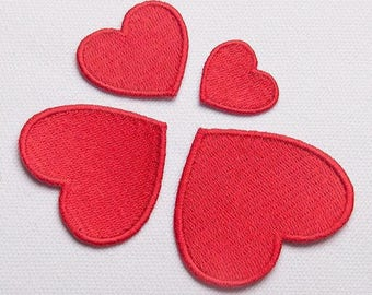 iron on patch,sew on patch,four size heart patch,embroidered,patches for jackets